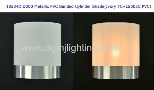 D250mm Metallic Silver PVC Banded Cylinder Shade