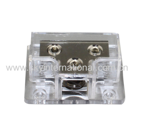 Nickel Plated 1x0Ga In 2x0GA Out Power distribution Block Car Audio Parts