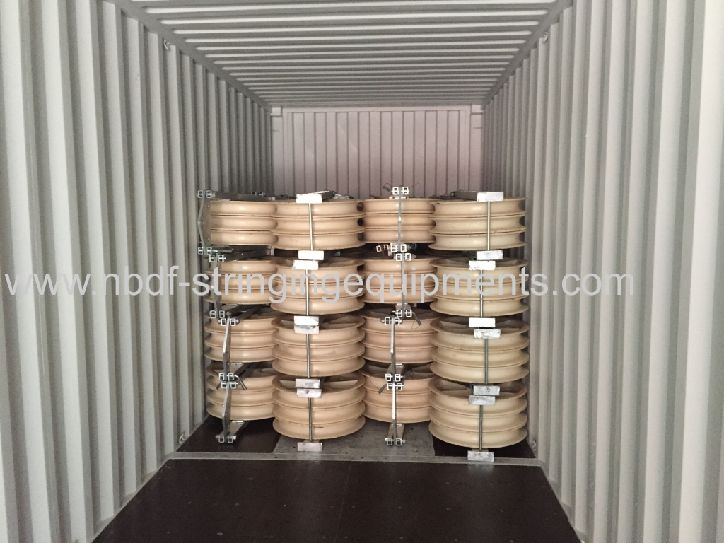 Three bundled conductors stringing equipment and conductor pulleys for abroad market