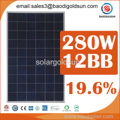 high efficiency 280watt 12bb 60cell polycrystalline solar power panel