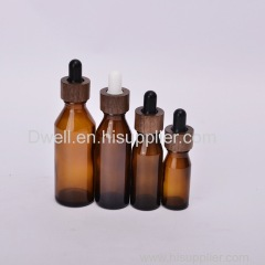 Natural Bamboo/Wood Collar with Amber Slant Shoulder Bottle Oil Essential Dropper Bottle
