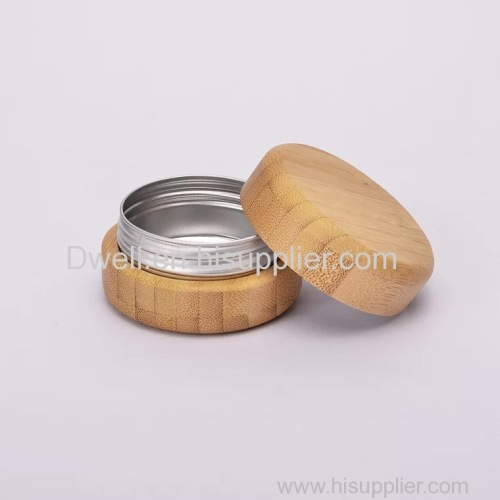 Natural Bamboo/Wood Aluminum Jar