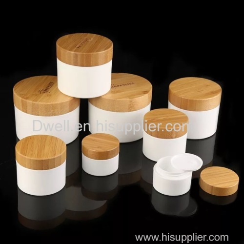 Natural Bamboo Cap with White PP Cream Jar