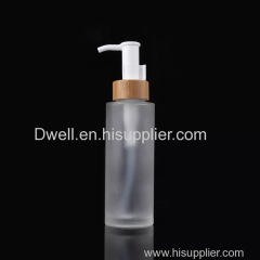 Natural Bamboo Collar with PP Press Pump Frosted Glass Shampoo Bottle Shower Gel Bottle