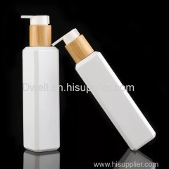 Natural Bamboo Lid Lotion Pump 250ml White Square PET Bottle