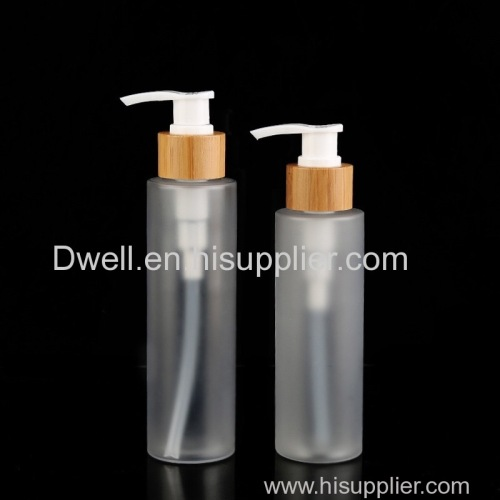 Natural Bamboo Lid Lotion Pump Frosted PETG Bottle