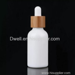 30ml Bamboo Lid With White Ceramic Glass Oil Dropper Bottle