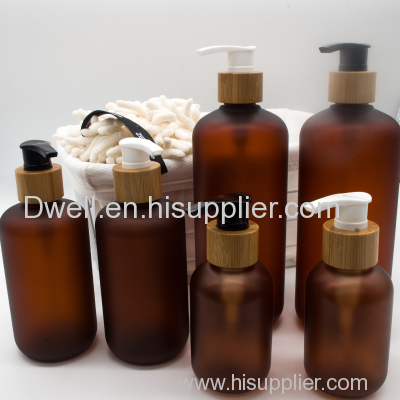 Natural Bamboo collar pump with frosted amber PET lotion bottle