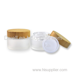 Natural Bamboo Cap with Frosted Glass Cream Jar