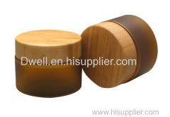 Natural Bamboo Cap with Amber Color PET Cream Jar