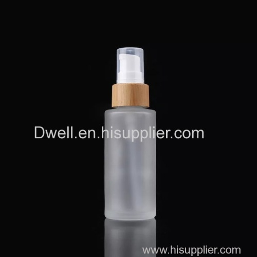 Natural Bamboo Collar Pump with Frosted Glass Lotion Bottle