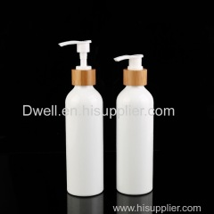 Natural Bamboo Collar PP Press Pump White Aluminum Shampoo Bottle Shower Gel Bottle Lotion Bottle