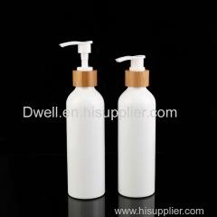 Natural Bamboo Collar PP Press Pump White Aluminum Shampoo Bottle Shower Gel Bottle Lotion Bottle