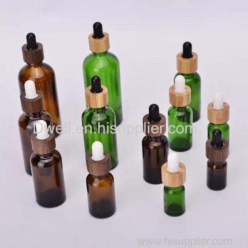 Natural Bamboo Collar Essential Oil Dropper Glass Bottle.