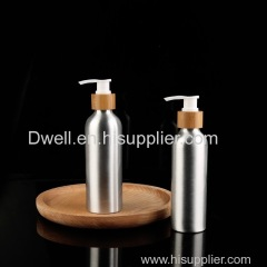 Natural Bamboo Collar PP Press Pump Aluminum Lotion Bottle. Shampoo bottle