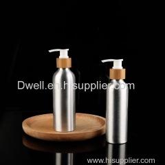 Natural Bamboo Collar PP Press Pump Aluminum Lotion Bottle. Shampoo bottle