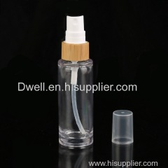 Natural Bamboo Collar Spray Pump PETG Bottle