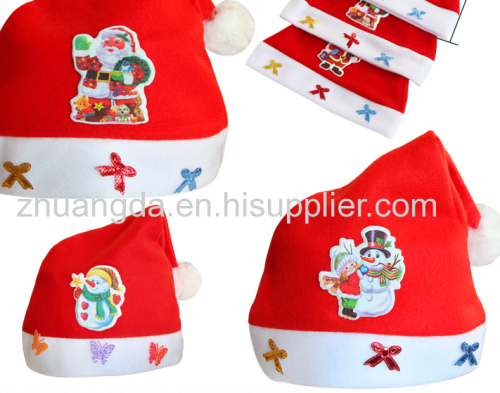 The new Christmas hat Christmas decoration quality super plush ball Christmas hat super thick