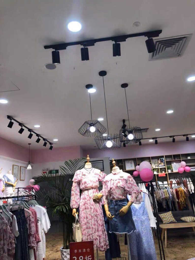Fashion shop with LED track lights