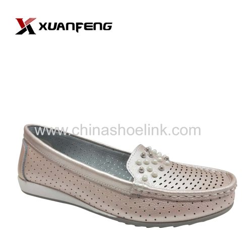 Lady loafers leather sneaker shoes slip-on style