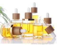 Natural Bamboo Collar Flat Shoulder Glass Essential Oil Dropper Bottle