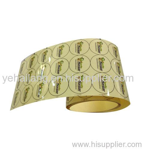Custom Clear Vinyl Stickers Gold Foil Adhesive PET Logo Sticker Printing Transparent Cosmetics Label
