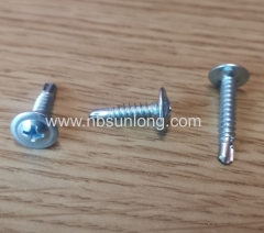 Self drilling screw - wafer head - cross phillips drive - zinc coated