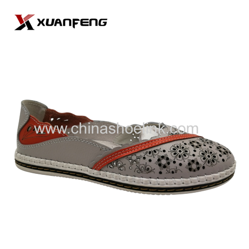 Women's leather shoes grey flat summer shoe seller wave type