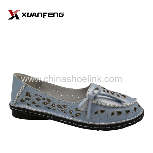 Lady leather shoes most comfortable blue tassel loafers exporter