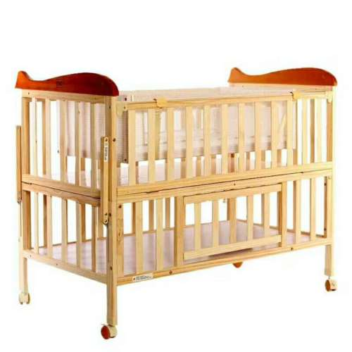 healthy cot baby's bed solid wood wooden baby crib with wheels