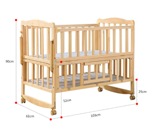 Big solid wooden crib blue baby bed baby foldable cot