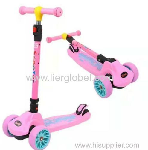Foldable 3 wheel baby child kick scooter with light and music for kids
