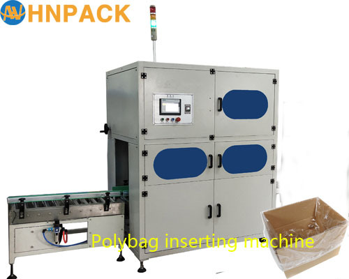 hennopack fully auto carton box bag auto inserting machine for palm oil or fats poly bag inserter