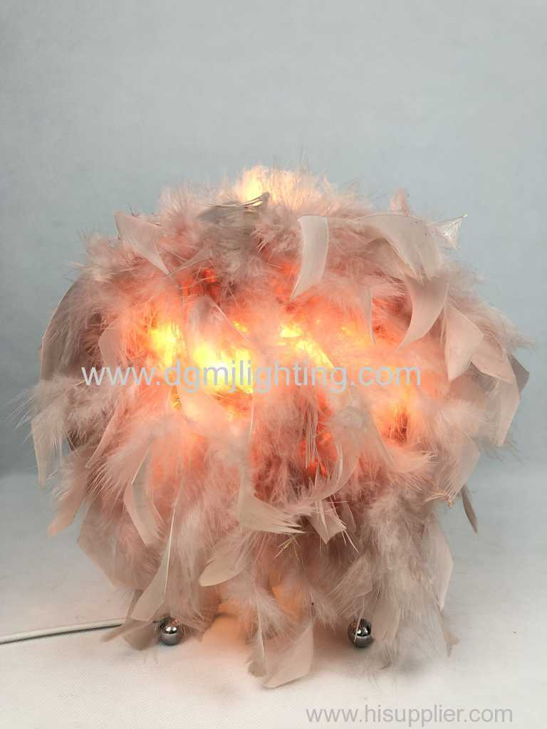 lampe de table plume chole rose