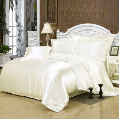 100% pure satin silk bedding set bedclothes duvet cover flat sheet pillowcases Unit Price $24.37