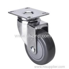 "Chrome 3"" 80kg Plate Swivel PU Caster"