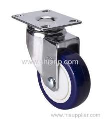 "Chrome 3"" 80Kg Plate Swivel TPU Caster"