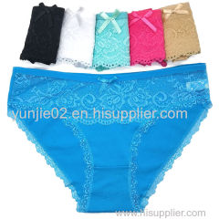 Yun Meng Ni New Style Young Girls Sexy Photo Women Cotton Panties with Lace and Bow Beautiful Briefs Lingerie Women