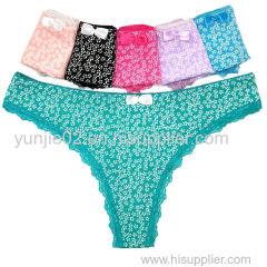 Sexy Girls Cotton Print Thong Underwear Women G-string Underwear Sexy Lingerie