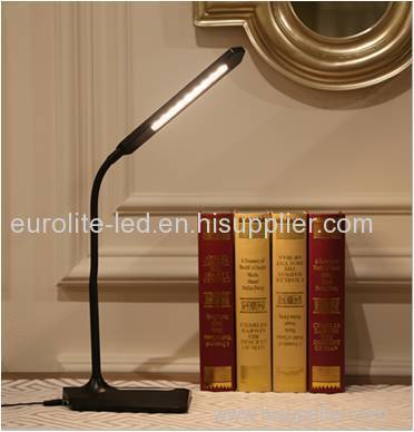 euroliteLED desk lamp with Stepless dimmer and USB phone charger output(5V 1A)