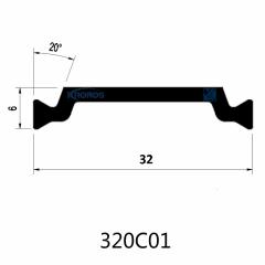 32mm Eurogroove Design Extruded PA66GF25 Thermal Break Polyamide Profiles