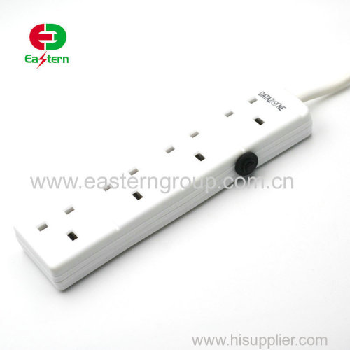 13a uk extension lead socket 4 gang way with copper cable cord