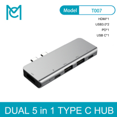 MC Alloy 5-in-1 Dual USB C HUB with 4K HDMI/USB3.0*2/PD/USB-C HUB Thunderbolt Type-C HUB for MacBook Pro