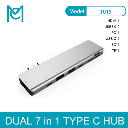 MC Aluminium Dual USB C Hub with 2*USB3.0 SD/TF Card Reader TypeC Hub Charging Thunderbolt Data Transfer for Macbook Pro
