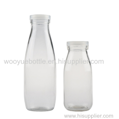 Round Clear Glass Milk Bottle