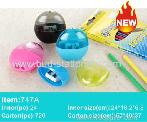 Semi-circular barrel Plastic single hole double hole manual pencil sharpener