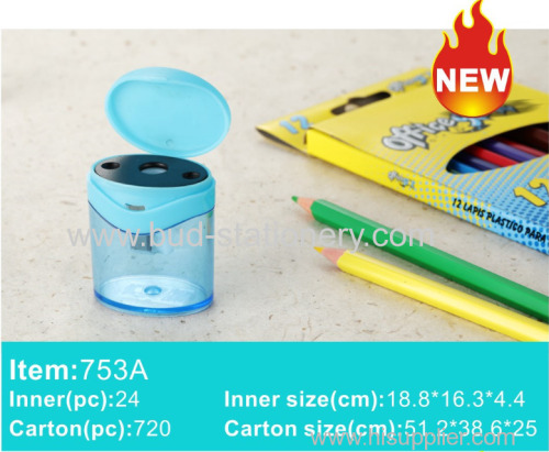 Barreled plastic single hole double hole pencil sharpener