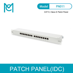 MC CAT 6 Class E Patch Panel Shielded 16-Port RJ45 8P8C LSA 1U Rack Mount Color Grey RAL 7035