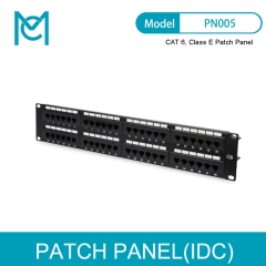 MC CAT 6 Class E Patch Panel Unshielded 48-Port RJ45 8P8C LSA 2U Rack Mount Color Black