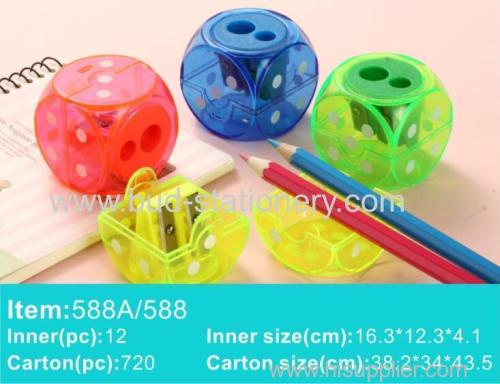Dice shape plastic pencil sharpener